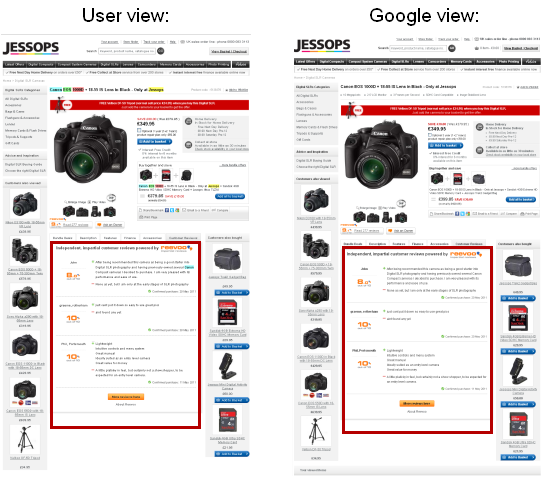Jessops reviews are visible to the user and to search engines
