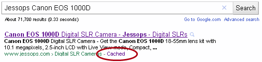 Finding the Google cached version of a page