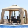 3 x 2.6m Aluminum Gazebo w/Curtains & Nets - Beige