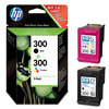 Original HP No.300 black and tri-colour (yellow cyan magenta) printer ink cartridge twinpack CN637EE