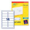 Avery J8163-25 A4 Sheet Address Labels for Inkjet Printers - White, 14 Labels per Sheet