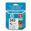 Original HP No.343 tri-colour (cyan magenta yellow) printer ink cartridge twin pack
