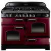 RANGEMASTER  Classic Deluxe 110 Dual Fuel Range Cooker - Cranberry & Brass, Cranberry