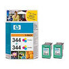 HP 344 - 2-pack - colour (cyan, magenta, yellow) - original - ink cartridge