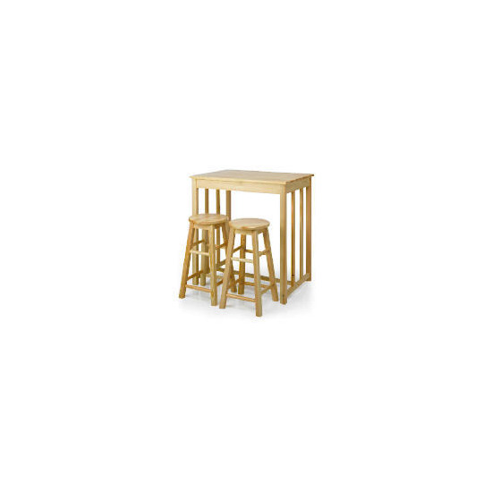 Pine Bar Table & 2 Stool Set