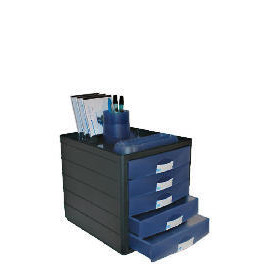 Horizon 5 Closed Drawer Organiser Black Shell / Blue Drawers Reviews
