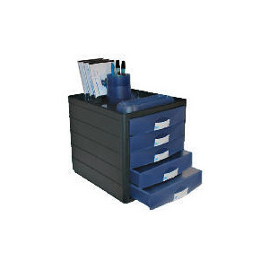Photo of Horizon 5 Closed Drawer Organiser Black Shell / Blue Drawers Office Furniture