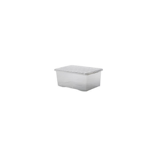 45 Litre Large Crate With Lid - Clear