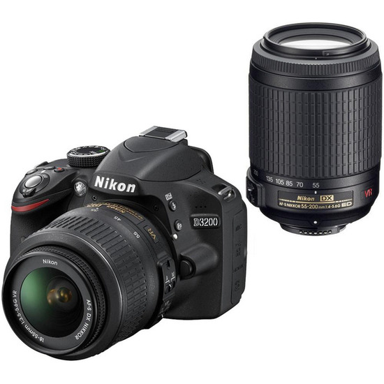 Nikon D3200 with 18-55 mm & 55-200 mm Lens