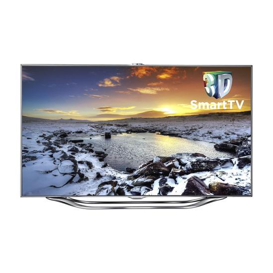 """Samsung UE55ES8000 Full HD 55"""" LED 3D TV, HT-ES8200/XU 2.1 3D Blu-ray Home Cinema System and SK-100TC Skala Corner Titanium TV Stand"""