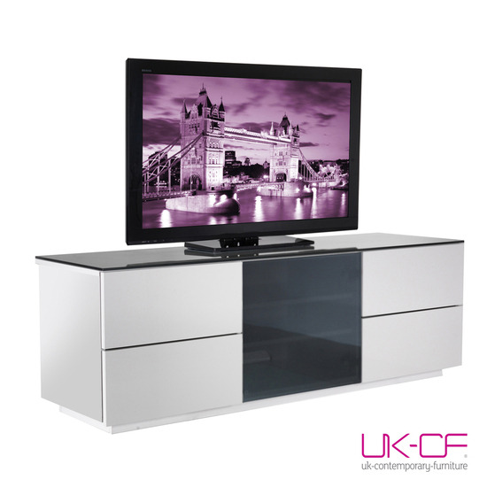 UKCF LONDON HIGH GLOSS WHITE TV STAND