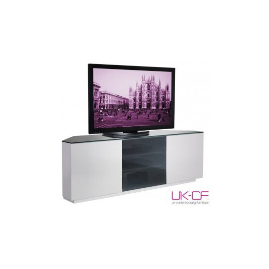 UK-CF White Corner TV Stand