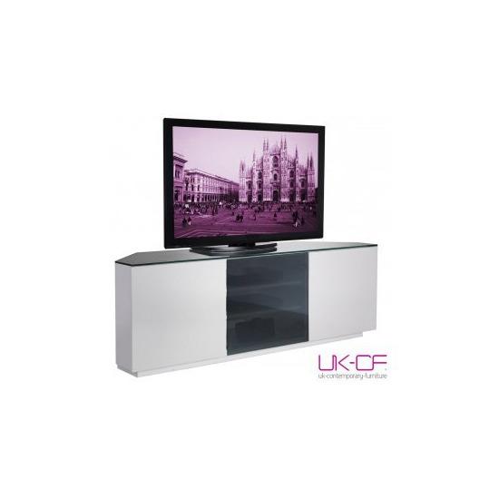 UK-CF White Corner TV Stand