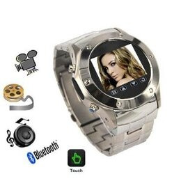 007-Watch W968 Silver Quad Band Watch Mobile Phone