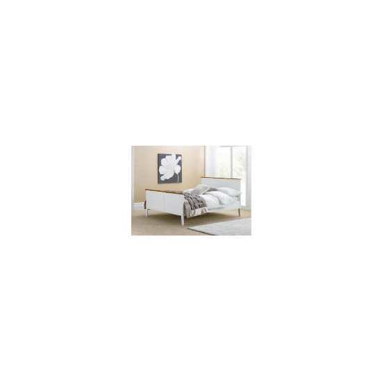 Auckland Double Bed Frame, White & Pine