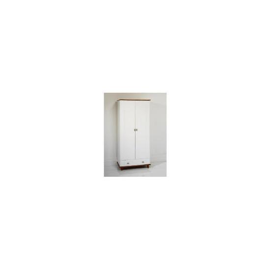 Auckland 2 Door 1 Drawer Robe, White & Pine
