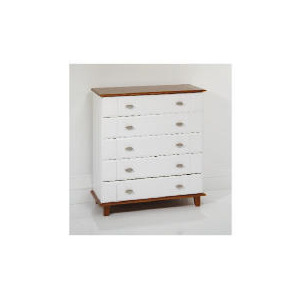 Photo of Auckland 5 Drawer Chest, White & Pine Furniture