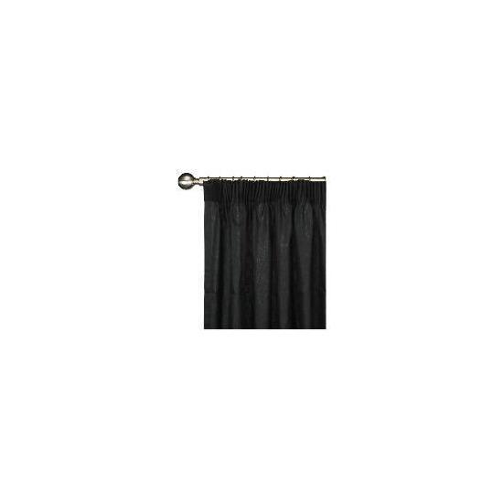 Tesco Plain Canvas Unlined Pencil Pleat Curtain 117x137cm, Black