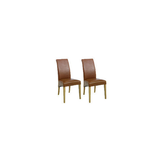 Pair of Florence Chairs, Cognac with Oak Legs