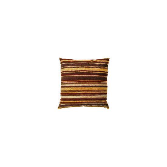 Tesco Chenille Stripe Cushion Gold/Red