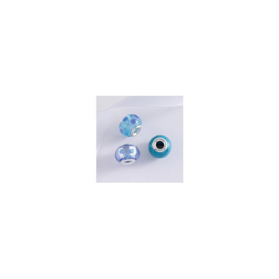 STERLING SILVER SET OF 3 BLUE GLASS BEAD CHARMS
