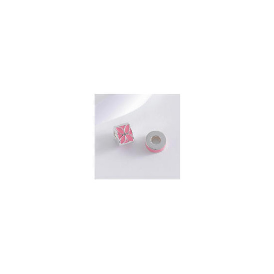 STERLING SILVER SET OF 2 PINK ENAMEL BEAD CHARMS