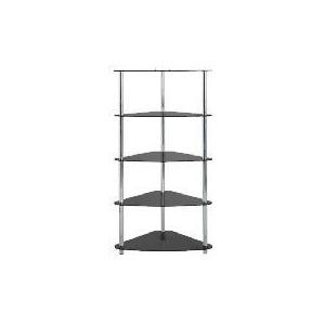 Photo of Mercury 5 Shelf Corner Bookcase Black Glass Furniture