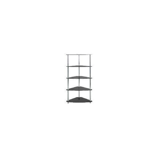 Mercury 5 Shelf Corner Bookcase Black Glass