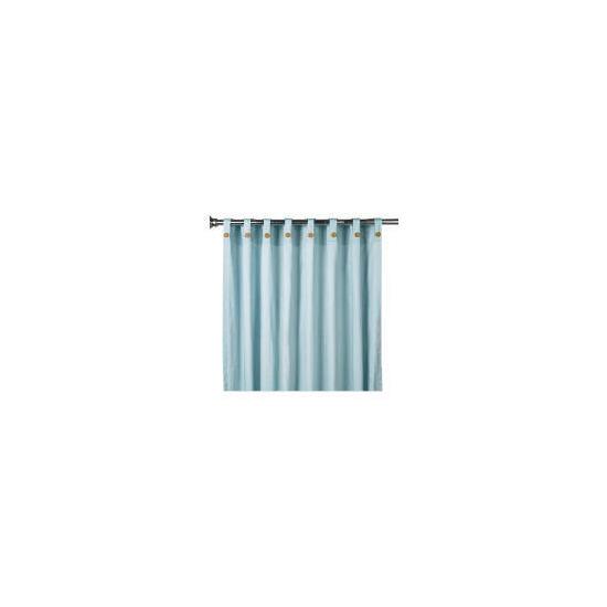 Tesco Plain Canvas Unlined Belt Top Curtain 168x137cm, Duck Egg