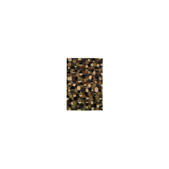 Tesco Retro Multi Circles Design Wool Rug Black 120x170cm