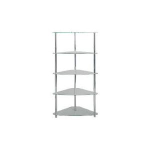 Photo of Mercury 5 Shelf Corner Bookcase, Clear Glass Furniture
