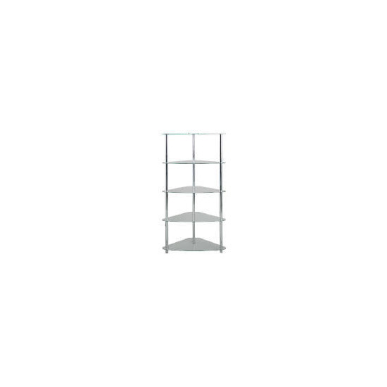 Mercury 5 shelf Corner Bookcase, Clear Glass