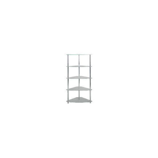 Mercury 5 shelf Corner Bookcase, Clear Glass