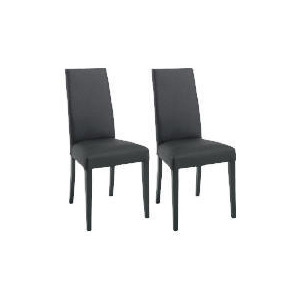 Photo of Pair Of Lucca Chairs, Black Leather With Black Legs Furniture