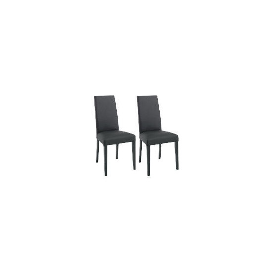 Pair of Lucca Chairs, Black Leather with black legs