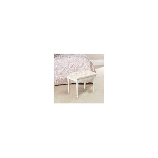 Blenheim Bedroom Stool, White Legs Oyster Damask
