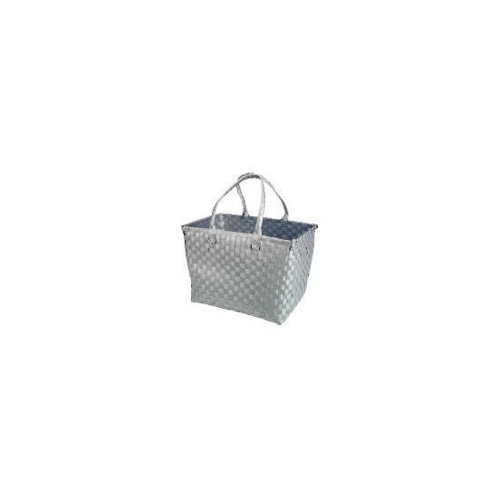 Silver Woven Rectangular Basket