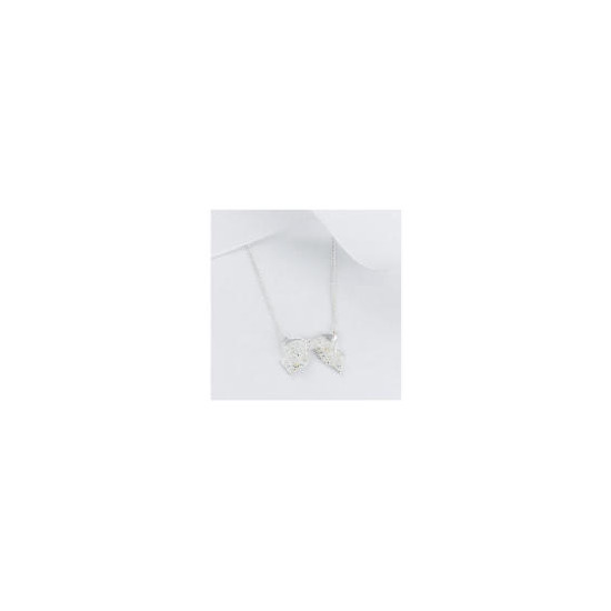 Sterling Silver Cubic Zirconia Bow Pendant