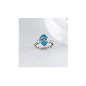 Photo of 9CT WHITE GOLD BLUE TOPAZ and DIAMOND RING, m Jewellery Woman