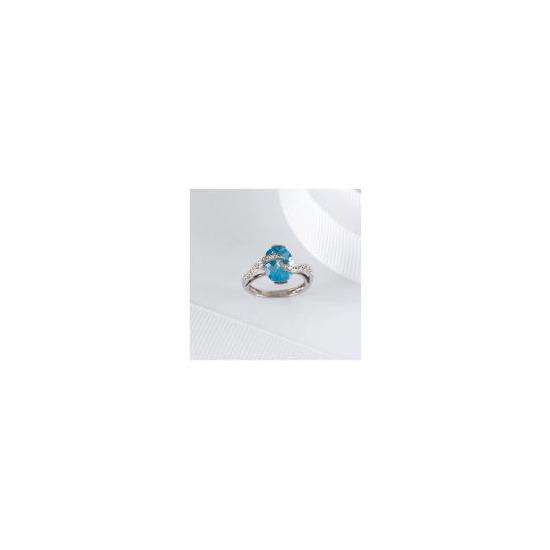 9CT WHITE GOLD BLUE TOPAZ AND DIAMOND RING, M