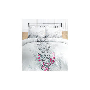 Photo of Tesco Cherry Blossom Embroidered/Print Duvet Set Double, White Bed Linen