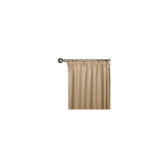 Tesco Plain Canvas Unlined Pencil Pleat Curtain 229x183cm, Mink