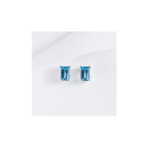 Photo of 9CT WHITE GOLD BLUE TOPAZ STUD EARRINGS Jewellery Woman