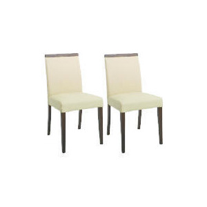 Photo of Pair Of Siena Chairs, Cream Leather With Walnut Legs Furniture