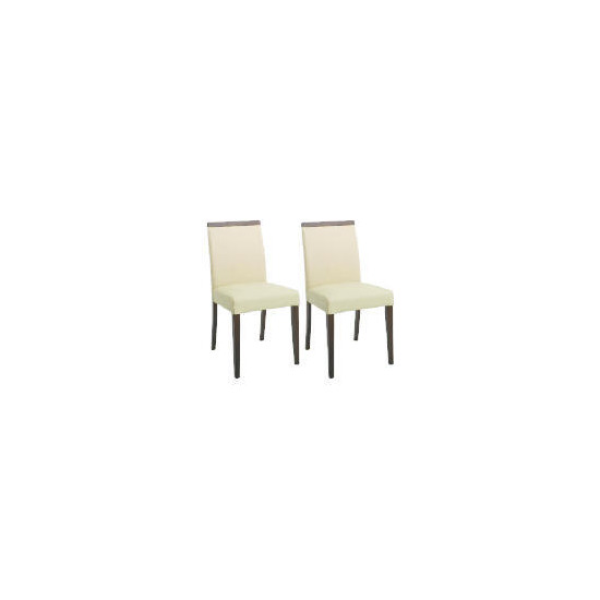 Pair of Siena Chairs, Cream Leather with walnut legs