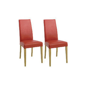 Photo of Pair Of Lucca Chairs, Red Leather With Oak Legs Furniture