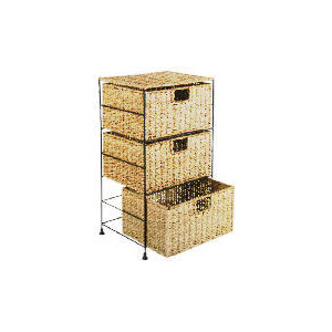 Photo of Tesco Seagrass 3 Drawer Tower Household Storage