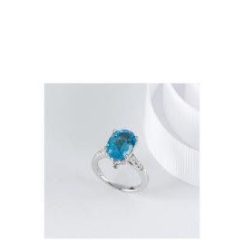 STERLING SILVER BLUE TOPAZ CUBIC ZIRCONIA COCKTAIL RING, SMALL Reviews
