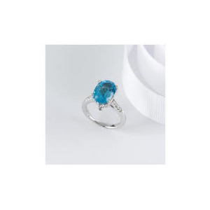 Photo of STERLING SILVER BLUE TOPAZ CUBIC ZIRCONIA COCKTAIL RING, SMALL Jewellery Woman