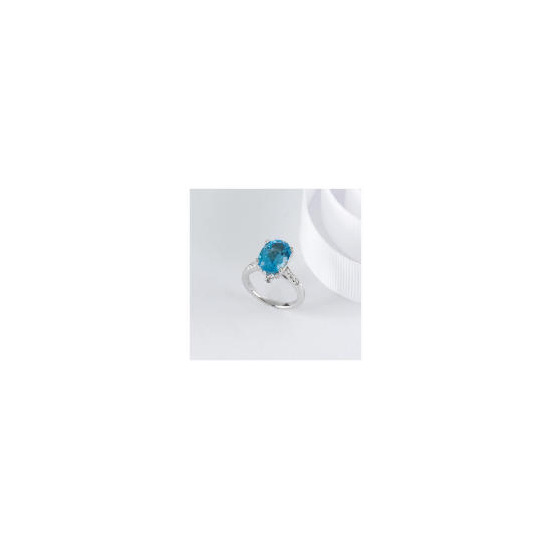 STERLING SILVER BLUE TOPAZ CUBIC ZIRCONIA COCKTAIL RING, SMALL